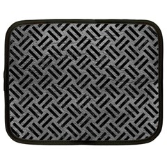Woven2 Black Marble & Gray Leather (r) Netbook Case (xl)  by trendistuff