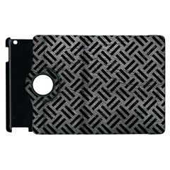 Woven2 Black Marble & Gray Leather (r) Apple Ipad 3/4 Flip 360 Case by trendistuff