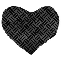 Woven2 Black Marble & Gray Leather (r) Large 19  Premium Heart Shape Cushions by trendistuff