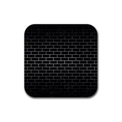 Brick1 Black Marble & Gray Metal 1 Rubber Coaster (square)  by trendistuff