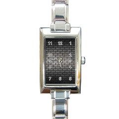 Brick1 Black Marble & Gray Metal 1 (r) Rectangle Italian Charm Watch by trendistuff