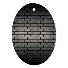 Brick1 Black Marble & Gray Metal 1 (r) Ornament (oval)