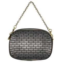 Brick1 Black Marble & Gray Metal 1 (r) Chain Purses (one Side)  by trendistuff