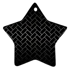 Brick2 Black Marble & Gray Metal 1 Star Ornament (two Sides) by trendistuff