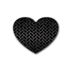 Brick2 Black Marble & Gray Metal 1 Rubber Coaster (heart)  by trendistuff