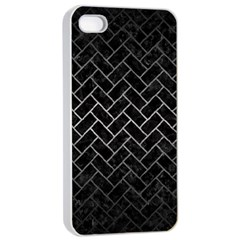Brick2 Black Marble & Gray Metal 1 Apple Iphone 4/4s Seamless Case (white) by trendistuff