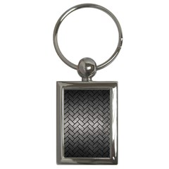 Brick2 Black Marble & Gray Metal 1 (r) Key Chains (rectangle)  by trendistuff