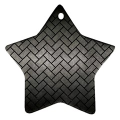 Brick2 Black Marble & Gray Metal 1 (r) Star Ornament (two Sides) by trendistuff