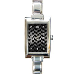 Chevron1 Black Marble & Gray Metal 1 Rectangle Italian Charm Watch by trendistuff