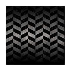 Chevron1 Black Marble & Gray Metal 1 Tile Coasters by trendistuff