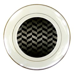 Chevron1 Black Marble & Gray Metal 1 Porcelain Plates by trendistuff