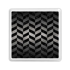 Chevron1 Black Marble & Gray Metal 1 Memory Card Reader (square)  by trendistuff