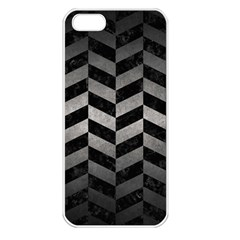 Chevron1 Black Marble & Gray Metal 1 Apple Iphone 5 Seamless Case (white) by trendistuff