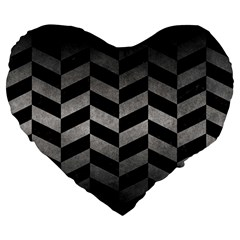 Chevron1 Black Marble & Gray Metal 1 Large 19  Premium Heart Shape Cushions by trendistuff