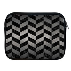 Chevron1 Black Marble & Gray Metal 1 Apple Ipad 2/3/4 Zipper Cases by trendistuff