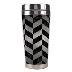 Chevron1 Black Marble & Gray Metal 1 Stainless Steel Travel Tumblers by trendistuff
