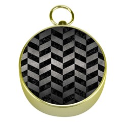 Chevron1 Black Marble & Gray Metal 1 Gold Compasses by trendistuff