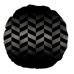 Chevron1 Black Marble & Gray Metal 1 Large 18  Premium Flano Round Cushions by trendistuff