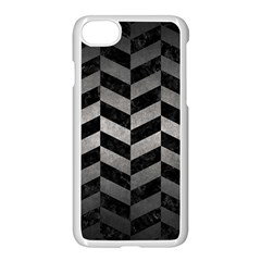 Chevron1 Black Marble & Gray Metal 1 Apple Iphone 7 Seamless Case (white) by trendistuff