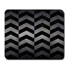 Chevron2 Black Marble & Gray Metal 1 Large Mousepads by trendistuff