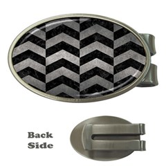 Chevron2 Black Marble & Gray Metal 1 Money Clips (oval)  by trendistuff