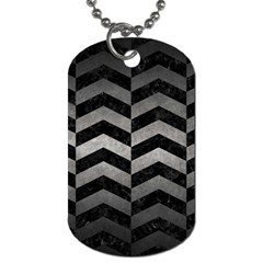 Chevron2 Black Marble & Gray Metal 1 Dog Tag (one Side) by trendistuff