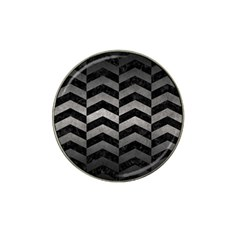 Chevron2 Black Marble & Gray Metal 1 Hat Clip Ball Marker (4 Pack) by trendistuff