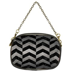 Chevron2 Black Marble & Gray Metal 1 Chain Purses (two Sides)  by trendistuff