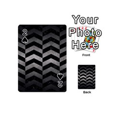 Chevron2 Black Marble & Gray Metal 1 Playing Cards 54 (mini)  by trendistuff