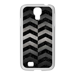 Chevron2 Black Marble & Gray Metal 1 Samsung Galaxy S4 I9500/ I9505 Case (white) by trendistuff