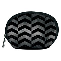 Chevron2 Black Marble & Gray Metal 1 Accessory Pouches (medium)  by trendistuff