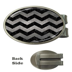 Chevron3 Black Marble & Gray Metal 1 Money Clips (oval)  by trendistuff