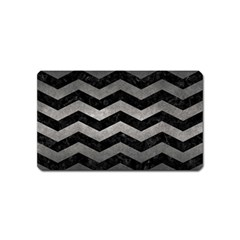 Chevron3 Black Marble & Gray Metal 1 Magnet (name Card) by trendistuff