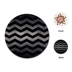 Chevron3 Black Marble & Gray Metal 1 Playing Cards (round)  by trendistuff