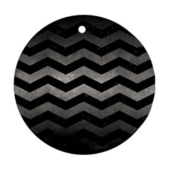 Chevron3 Black Marble & Gray Metal 1 Round Ornament (two Sides) by trendistuff