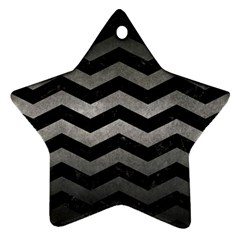 Chevron3 Black Marble & Gray Metal 1 Star Ornament (two Sides) by trendistuff