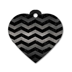 Chevron3 Black Marble & Gray Metal 1 Dog Tag Heart (two Sides) by trendistuff