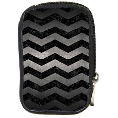 Chevron3 Black Marble & Gray Metal 1 Compact Camera Cases by trendistuff