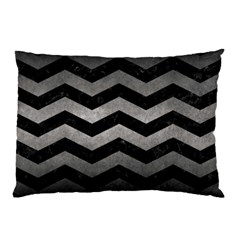 Chevron3 Black Marble & Gray Metal 1 Pillow Case (two Sides) by trendistuff