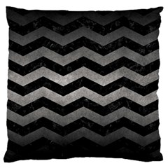 Chevron3 Black Marble & Gray Metal 1 Large Flano Cushion Case (one Side) by trendistuff