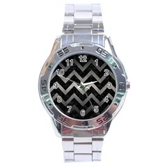 Chevron9 Black Marble & Gray Metal 1 Stainless Steel Analogue Watch by trendistuff