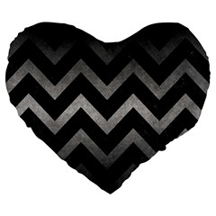 Chevron9 Black Marble & Gray Metal 1 Large 19  Premium Heart Shape Cushions by trendistuff