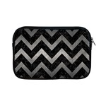 CHEVRON9 BLACK MARBLE & GRAY METAL 1 Apple iPad Mini Zipper Cases Front