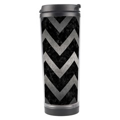 Chevron9 Black Marble & Gray Metal 1 Travel Tumbler by trendistuff