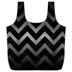 Chevron9 Black Marble & Gray Metal 1 Full Print Recycle Bags (l)  by trendistuff