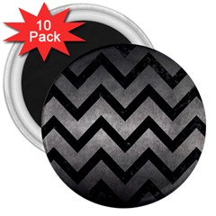 Chevron9 Black Marble & Gray Metal 1 (r) 3  Magnets (10 Pack)  by trendistuff