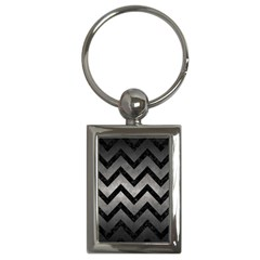 Chevron9 Black Marble & Gray Metal 1 (r) Key Chains (rectangle)  by trendistuff