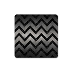 Chevron9 Black Marble & Gray Metal 1 (r) Square Magnet by trendistuff