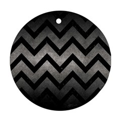 Chevron9 Black Marble & Gray Metal 1 (r) Round Ornament (two Sides) by trendistuff