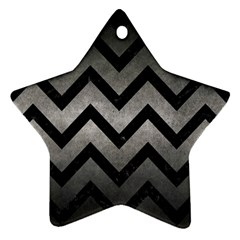 Chevron9 Black Marble & Gray Metal 1 (r) Star Ornament (two Sides) by trendistuff